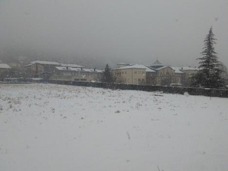 Nevant fort des del camí Ral, entre el seminari i l'asil.